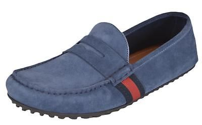 New Gucci Men's 407411 Blue Suede Red