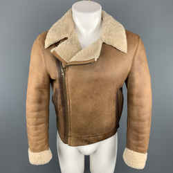 Miu Miu Size Us 36 / It 46 Tan Distressed Shearling Biker Jacket