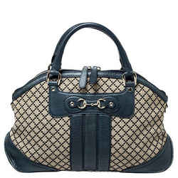 Gucci Navy Blue/Beige Diamante Canvas and Leather Catherine Satchel
