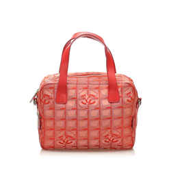 Vintage Authentic Chanel Red Canvas Fabric New Travel Line Satchel France