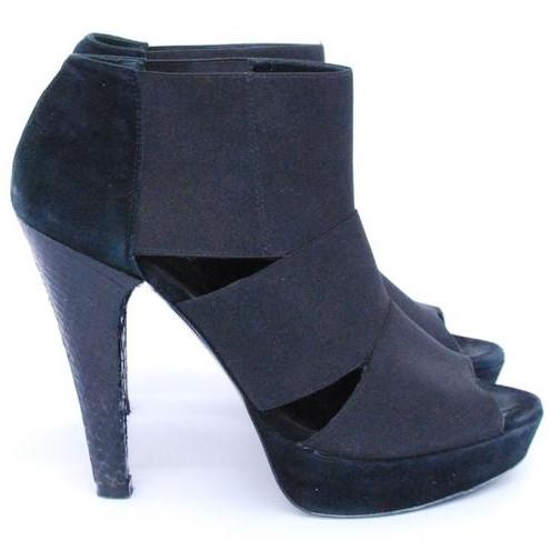 Jenni Kayne Black Suede And Snakeskin Heels Us Size 7 Euro Size 37