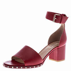 Valentino Red Leather Rockstud Ankle Cuff Sandals Size 39.5
