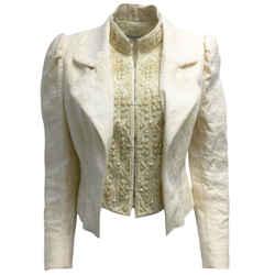 Dries van Noten Cream Embellished Brocade Jacket