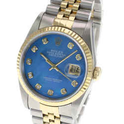 Rolex Mens Datejust Watch Two-tone 36mm Blue MOP Diamond Dial Fluted Bezel
