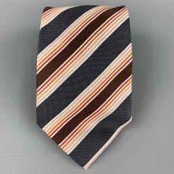 ERMENEGILDO ZEGNA Charcoal & Brown Diagonal Stripe Silk Tie