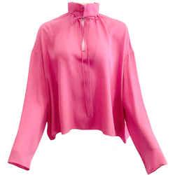 Balenciaga Pink Silk Keyhole Blouse
