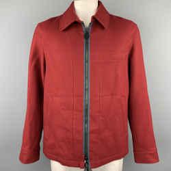 LANVIN Size 42 Burgundy Wool Zip Up Jacket