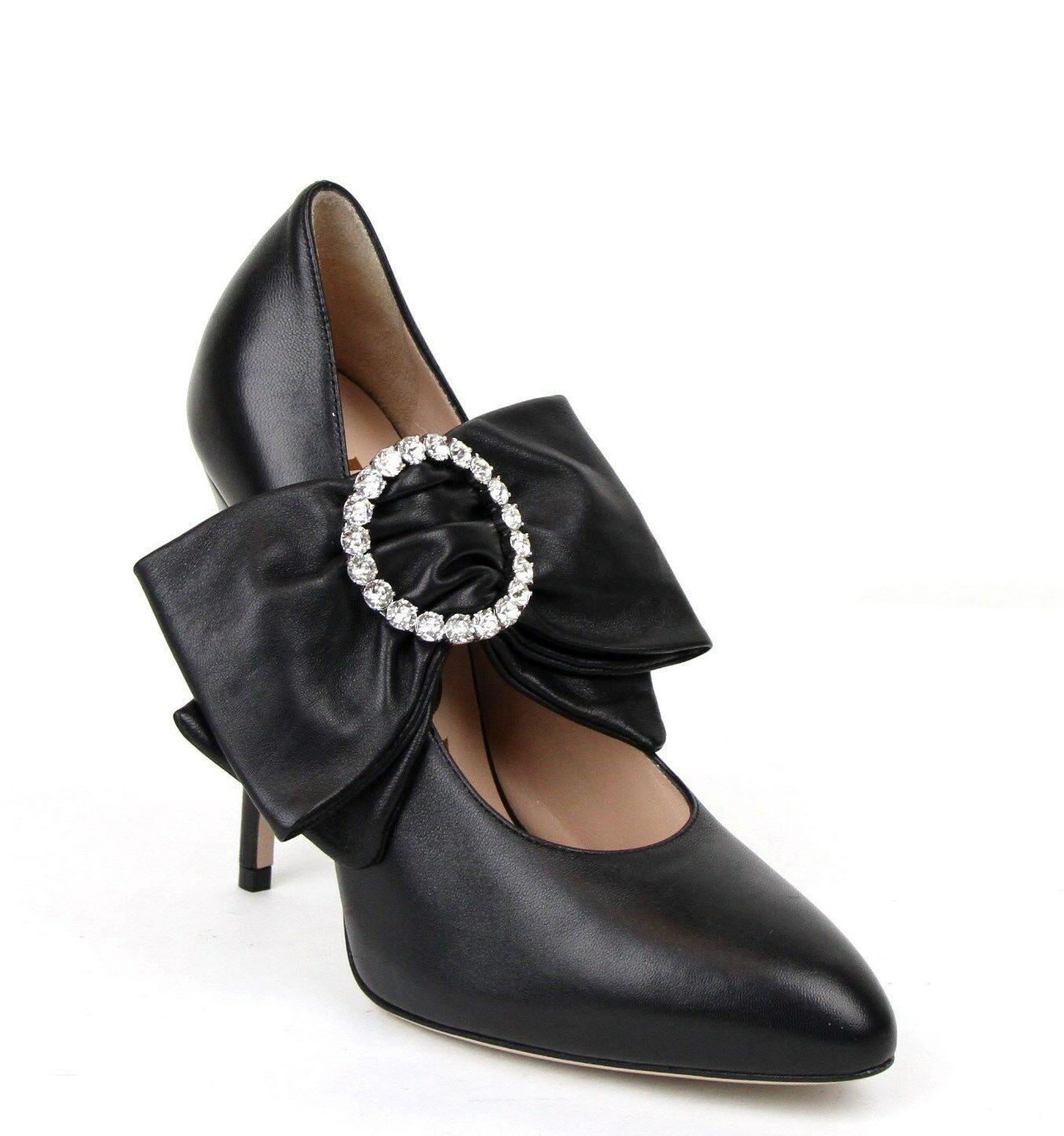 $960 Gucci Black Leather Heels W
