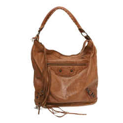 Balenciaga Motorcross Classic Day Brown Leather Hobo