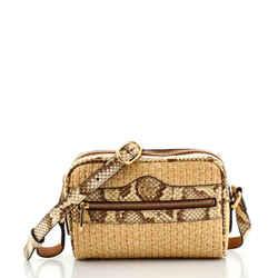 Ophidia Shoulder Bag Raffia with Snakeskin Mini