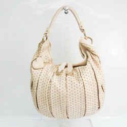 Bally GG-HK Women's Leather Studded Shoulder Bag Cream BF533188