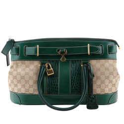 Gucci Monogram Crocodile Web Secret Top Handle Green Satchel