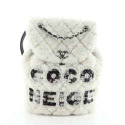 Coco Neige Flap Backpack Quilted Shearling with Tweed Small