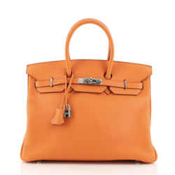 Birkin Handbag Orange H Clemence with Palladium Hardware 35