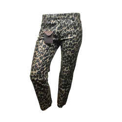 Leather Leopard Print Pants