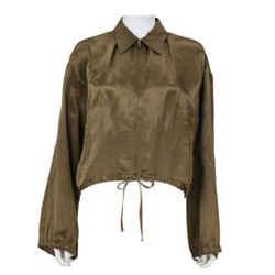JEAN PAUL GAULTIER 1990s Olive Silk Crop Bomber Jacket