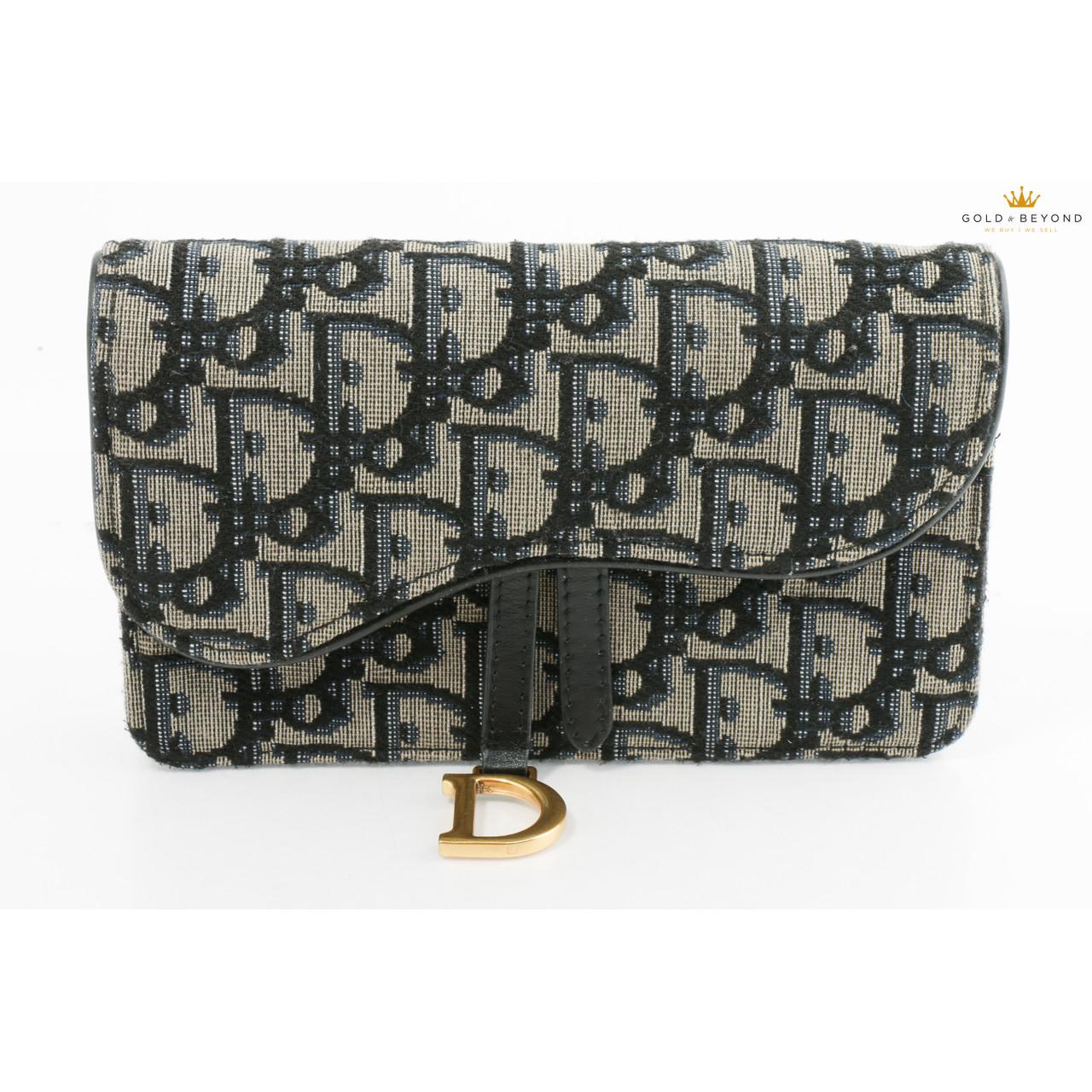 Christian Dior Small Saddle Blue Dior Oblique Jacquard Wallet Leprix
