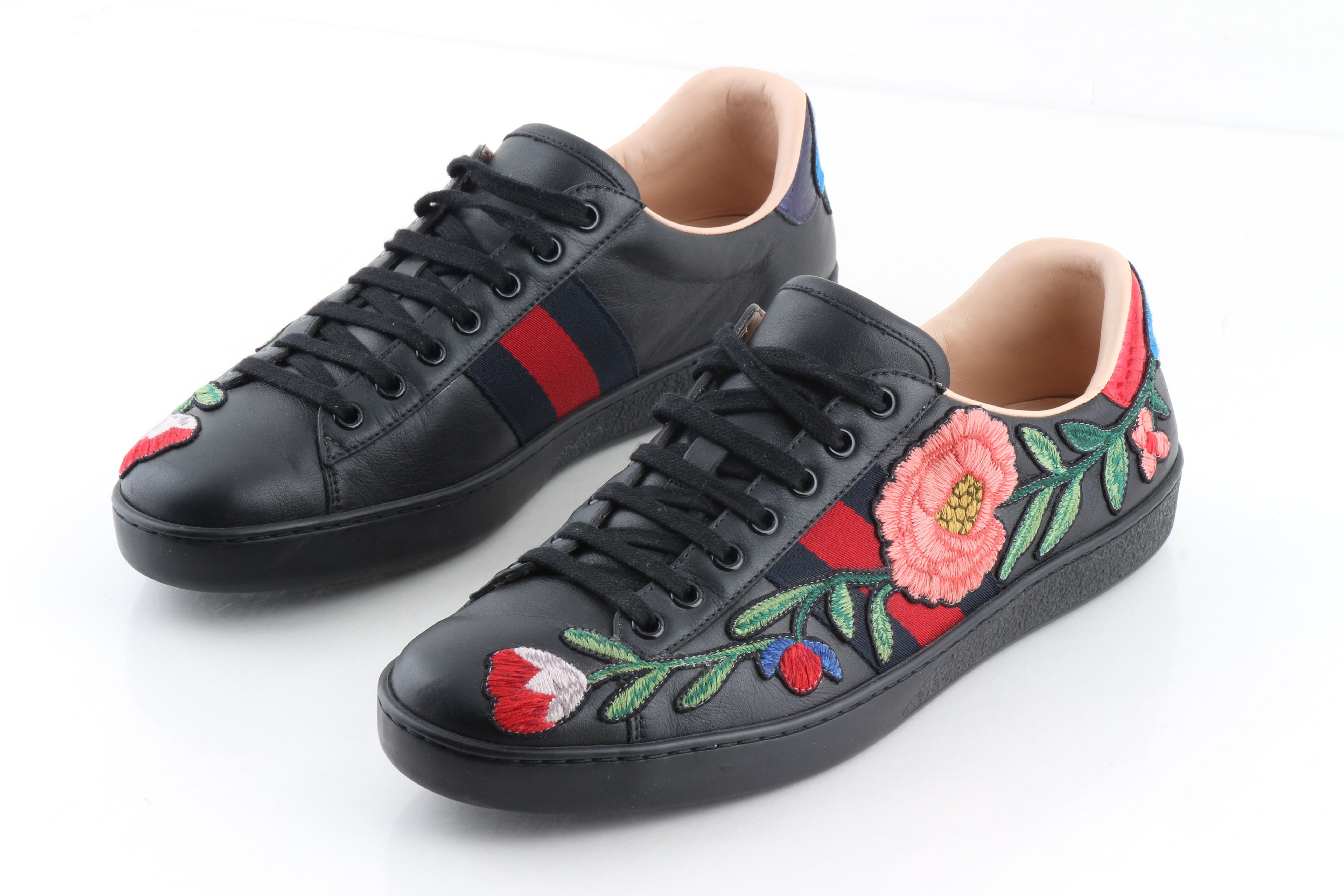 Gucci Ace Floral Sneakers Sport Black