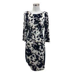 N1597 Lauren Ralph Lauren Designer Dress 6 Small Beige Black Sheath 3/4 Sleeves