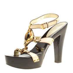 Giuseppe Zanotti Beige Leather Ankle Strap Platform Sandals Size 40