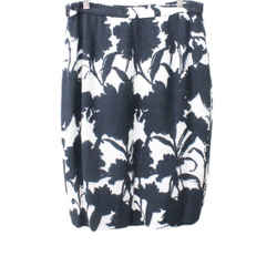 Prada Black and White Floral Print Viscose Skirt Sz 8