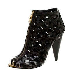 Tom Ford Brown Croc Embossed Leather Cutout Peep Toe Sandals Size 39