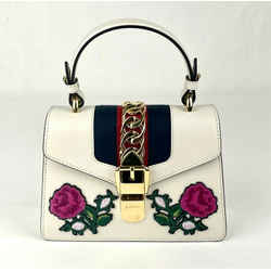 Gucci Sylvie White Leather Floral Embroidered Mini Shoulder Bag 470270 8614