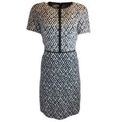 Oscar de la Renta Ikat Print Short Sleeved Cotton Dress