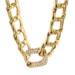 Oversized Chain Link Short Necklace Metal with Crystals