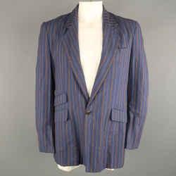 Vivienne Westwood 40 Blue & Brown Stripe Cotton Notch Lapel  Sport Coat