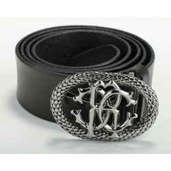 Roberto Cavalli Men's Black Logo Belt