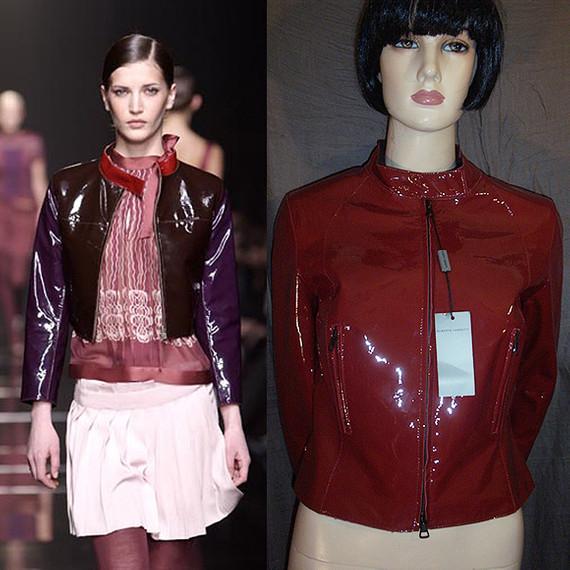 Alberta Ferretti Red Patent Leather Cropped Moto Jacket 42IT 8/10 NWT