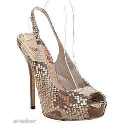 Gucci Brown Leather Snakeskin Platform Sandal Peep Toe Pump Ankle Strap 37 Peek!