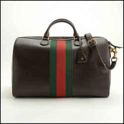 Rdc11729 Authentic Gucci Brown Pigskin Boston Duffle Bag W/strap