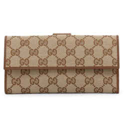 New Gucci Brown Ebony Canvas Leather Gg Guccissima Snap Continental Wallet
