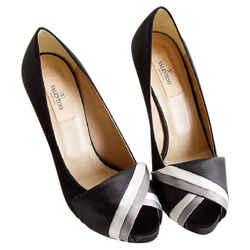 Rdc8090 Authentic Size 38.5 Valentino Black & Grey Twist Platform Peep Toe Heels