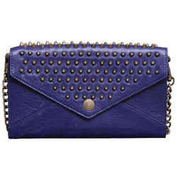 Rebecca Minkoff Royal Blue Leather Studded Wallet On A Chain Clutch