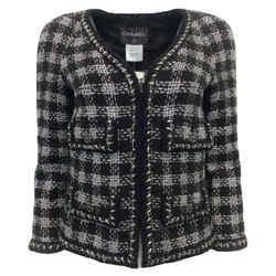 Chanel Black / Silver Tweed Crop Blazer