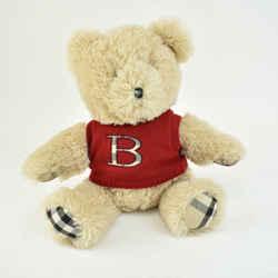 "BURBERRY: Beige ""Nova Check"" & ""B"" Logo Teddy Bear/Plush Toy (mn)"
