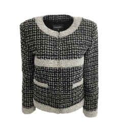 Chanel Black / White Tweed Zip Front Jacket
