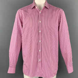 RALPH LAUREN Purple Label Size XL Pink Stripe Cotton Button Up Long Sleeve Shirt