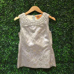 Tory Burch Size 6 Silver Top