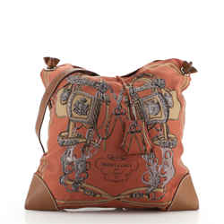 Silky City Bag Printed Silk and Leather PM