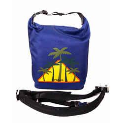 NEW $1,290 PRADA Blue Nylon PALM TREE LOGO Crossbody 2-WAY Zip Top BUCKET BAG