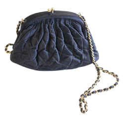 Chanel Black Vintage Quilted Satin Bag Gold Leather Lining 1996