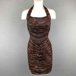St. John Size 2 Black Knit Tiger Print Sequin Overlay Halter Dress