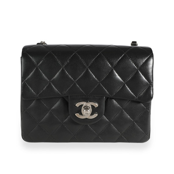 Chanel Black Quilted Lambskin Mini Square Classic Flap Bag