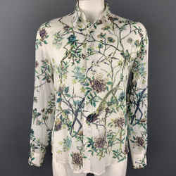 JUST CAVALLI Size XXL White & Green Floral Print Cotton Button Up Long Sleeve Shirt