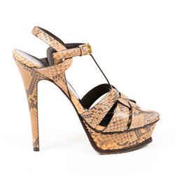 Saint Laurent Sandals Tribute Brown Snakeskin Embossed Leather SZ 38.5