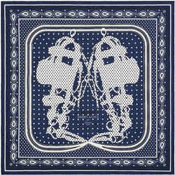 HERMES Brides de Gala Navy Bandana Vintage Silk Scarf Behind the Scenes Collection